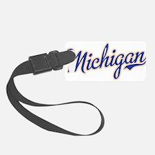 Michigan Script Font Luggage Tag