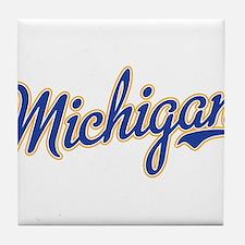 Michigan Script Font Tile Coaster