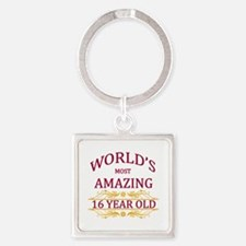 16th. Birthday Square Keychain