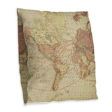Vintage world map Burlap Throw Pillow
