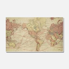 Vintage world map Car Magnet 20 x 12