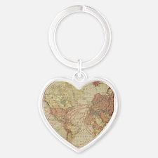 Vintage world map Heart Keychain