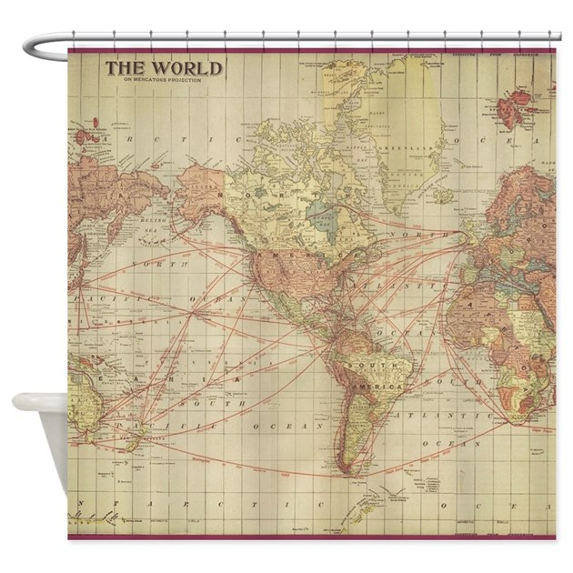 Vintage World Map Shower Curtain By Heritageandheart