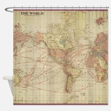 Vintage shower curtains vintage fabric shower curtain liner - Old world map shower curtain ...