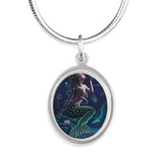 Bioluminescent Mermaid Silver Oval Necklace