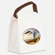 gull on the wing over beach Canvas Lunch Bag