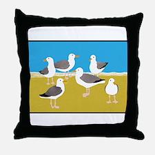 Gang of Seagulls Throw Pillow