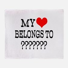 Personalize My Heart Belongs To Throw Blanket