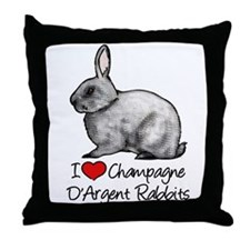 I Heart Champagne DArgent Rabbits Throw Pillow