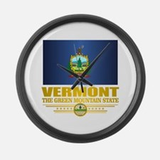 Vermont Flag (v15) Large Wall Clock