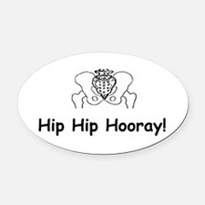 Hip Hip Hooray Oval Car Magnet