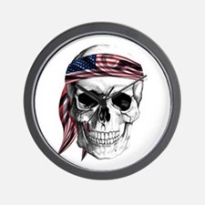Skull America Wall Clock