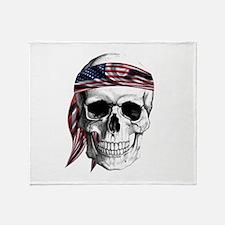Skull America Throw Blanket