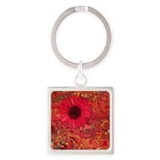 Red Daisies Square Keychain
