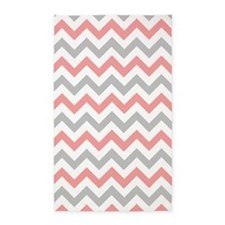 Coral and Grey Chevron 3'x5' Area Rug