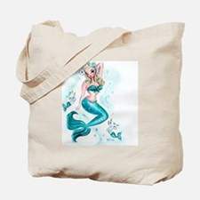 Pin Up Mermaid with Mermaid Kitties Tote Bag