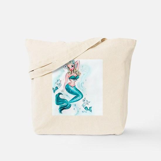 Pin Up Mermaid with Mermaid Kitties Tote Bag
