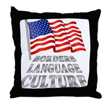 Borders Language Culture Throw Pillow