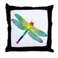 Rainbow Dragonfly Throw Pillow