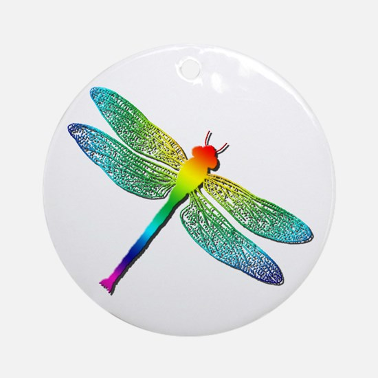 Rainbow Dragonfly Ornament (Round)