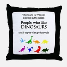 Ten Types Of People (Dinosaurs) Throw Pillow