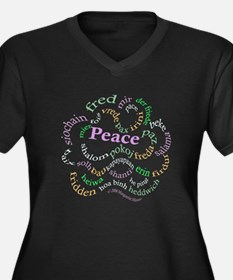 Fred-is-Peace Women's Plus Size V-Neck Dark T-Shir