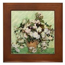 Vincent Van Gogh Vase With Pink Roses Framed Tile
