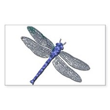 Blue Dragonfly Rectangle Decal