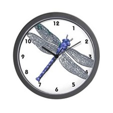 Blue Dragonfly Wall Clock