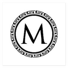 Greek Key Black and White M Invitations