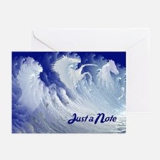 Just a note, wild white surf horses Greeting Cards