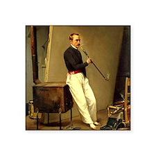 """Horace Vernet Self-Portrait Square Sticker 3"""" x 3"""""""