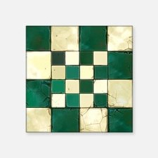 "Cracked Tiles - Green Square Sticker 3"" x 3"""