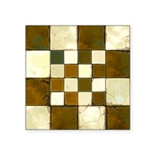 "Cracked Tiles - Brown Square Sticker 3"" x 3"""