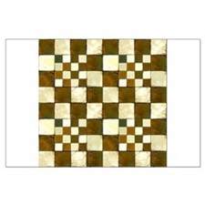 Cracked Tiles - Brown Large Poster