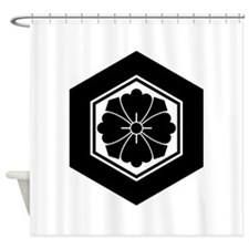Square flower with Swords in tortoi Shower Curtain