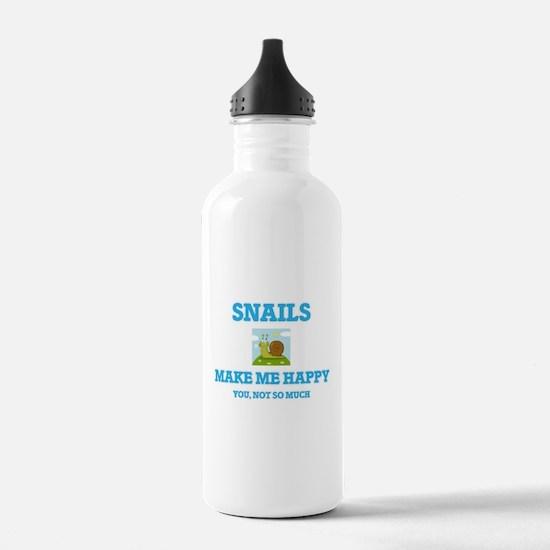 Snails Make Me Happy Water Bottle