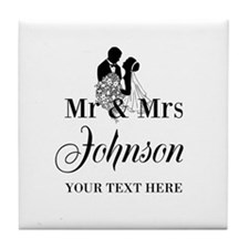 Personalized Mr And Mrs Tile Coaster For Newlyweds