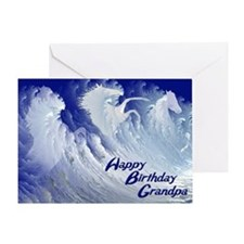 For grandpa, wild white surf horses birthday card