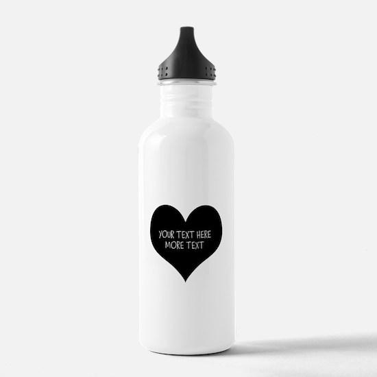 Black heart Water Bottle