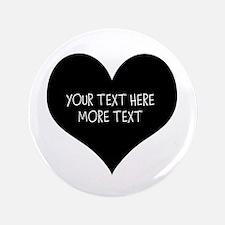 "Black Heart 3.5"" Button (100 Pack) For Weddin"