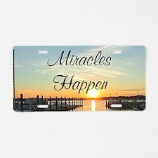 MIRACLES HAPPEN Aluminum License Plate