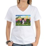 Bright Country/Border Collie Women's V-Neck T-Shir