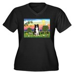 Bright Country/Border Collie Women's Plus Size V-N