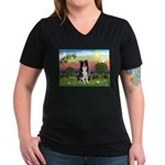 Bright Country/Border Collie Women's V-Neck Dark T