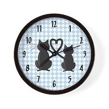 Blue Diamond Kitty Wall Clock