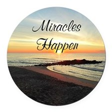 MIRACLES HAPPEN Round Car Magnet