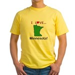 I Love Minnesota Yellow T-Shirt