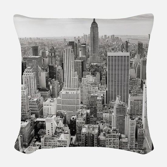 New York City Skyscrapers Woven Throw Pillow