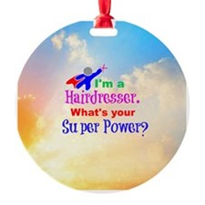 Hairdresser superhero Round Ornament
